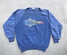 Vintage Ski Tahoe Sweatshirt Crew Raglan Faded Rainbow Snow Soft 70s 80s Blue S