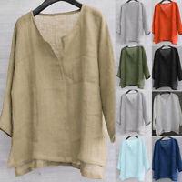 US TRENDS Mens Linen Cotton Blouse Baggy Kaftan T-shirt Casual Tops Loose Shirts