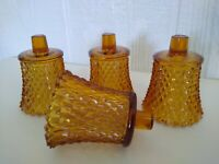 Homco Amber Brown Diamond Point Votive Cup Candle Holders Peg Grommets Lot of 4