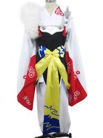 Anime Kimono Inuyasha Sesshomaru Cosplay Costume Masquerade Kimono and Wig 1 Set