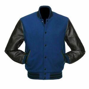 Royal Blue Wool Varsity College Letterman Jacket, Black Real Leather Sleeves