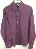 NOS Women's Rockies Rodeo Sz Large Long Sleeve Western Pearl Snap Purple Shirt