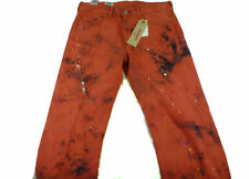 $70 Mens LEVIS Jeans 569 LOOSE STRAIGHT 34 x 32 RED PAINT Pollock splatter