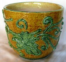 RARE ANTIQUE FRENCH YELLOW JARDINIERE W/ GREEN SPINACH LEAVES