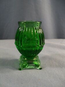 Green Glass Pot Belly Stove Shaped Toothpick Holder