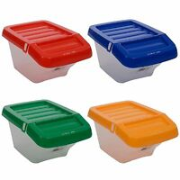 30L Plastic Storage Box  With Hinged Lids Stack-able New Multi Use Recycling Bin