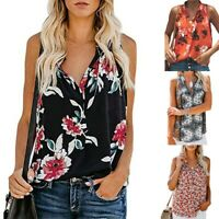 Women Ladies V Neck Loose Sleeveless Floral Print Tank Tops Casual Blouse Shirts