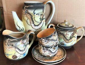 Vintage Dragonware Japanese Moriage 8-Piece China Tea Set