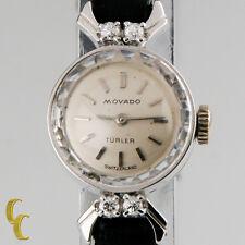 Women's Vintage 18k White Gold Movado Turler Watch W/Diamonds