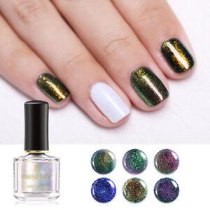 BORN PRETTY 6ml Neon Top Coat Nail Polish Chameleon Glitter Nail Art Varnish