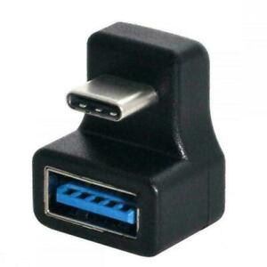 Black 180Degree Up&Down Angled Type C to USB 3.0 Female Adapter Extension C2W8
