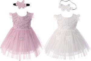 Baby Girls Butterfly Party Christening Dress Headband  0 3 6 12 18 24 Months