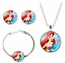 Little Mermaid Ariel Glass Dome Pendant Necklace Earring & Bracelet Jewelry Set