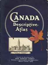 CANADA / DESCRIPTIVE ATLAS Ottawa 1927_ MINISTER OF IMMIGRATION AND COLONIZATION