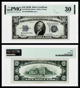 FR.1703 {BA BLOCK} 1934B $10 SILVER CERTIFICATE NOTE~~PMG VF30