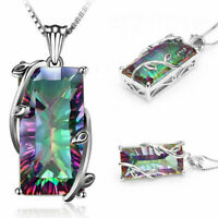New Sell Mystic Topaz 925 Silver Women Jewelry Gemstone Pendant 24mm