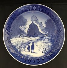 1973 ROYAL COPENHAGEN Collector Plate GOING HOME FOR CHRISTMAS Blue & White