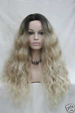 Lace Front Premium Quality Heat Ok Synthetic Ombre Brown/Blonde Wavy Long Wig
