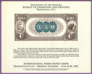 BEP 1982 IPMS Memphis B56 Souvenir Card 1882 $100 Brown Back National Note Back