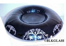 Art Nouveau Silver Overlay Black Glass Centerpiece Bowl Rolled Rim Console 14x3