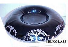 Art Nouveau Silver Overlay Black Glass Centerpiece Bowl Rolled Rim Console 14x3
