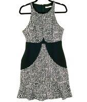 COOPER STREET Women's Size 10 Black White Spotted Sleeveless Bodycon Dress