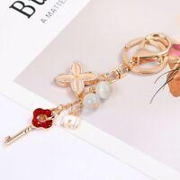 Key Holder Bag Charm Purse Chain Roses Flower Crystals Luxury Rhinestone Clover