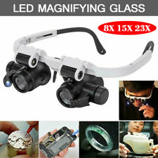 Headband Magnifier with LED Light Head Mounted Magnifying Glasses 8X 15X 23X