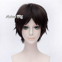 Attack on Titan Eren Yeager Short Layered Dark Brown Hair Men Anime Cosplay Wig