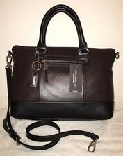 Tignanello City Sleek Brown Black Leather Crossbody Satchel Hand Bag NWT