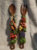 Retro Kitchen Decor 1976 Syroco Fruit & Vegetable Fork & Spoon Wall Hangings