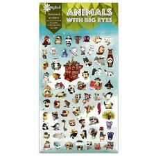 CUTE ANIMALS WITH BIG EYES STICKERS Kawaii Paper Sticker Sheet Craft Scrapbook