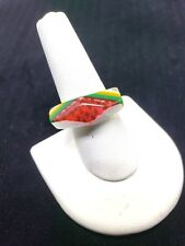 Abstract Lucite Ring Red Green White Clear Vintage Ring