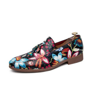 British Men Pointy Toe Casual Pumps Leather Floral Party Nightclub Tassels Shoes