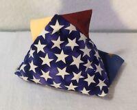 "Hand Made Fabric Chicken Pin Cushion Blue & White Stars 5"" x 3"" x 4"""