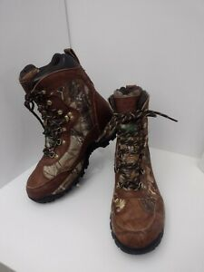 Game Winner Hunting Boots 11 Wide Waterproof Brown Leather Canvas Camouflage