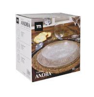 18 PIECE SET GLASS DINNER PLATES DINNER SET dessert pasta soup ANDRA
