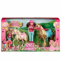 My Doll & Horse Family Toy Playset 2 Ponies & 2 Dolls Stable