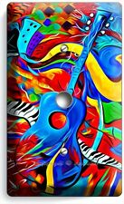COLORFUL GUITAR SAXOPHONE JAZ MUSIC LIGHT DIMMER VIDEO CABLE WALL PLATE COVER