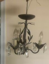 Small rustic bronze crystal chandelier