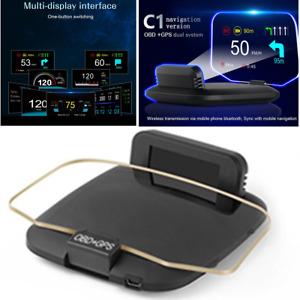 HUD Head-Up Display OBD GPS Navigation Meter Digital Speed Warning Scanner Tool
