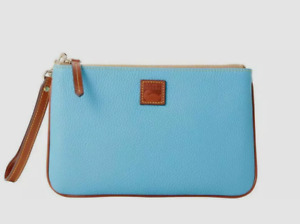 Dooney & Bourke Pebbled Leather Large Zippered Wristlet Turquoise Blue $128