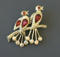 Vintage Bird Brooch Pin  gold tone metal with Crystals