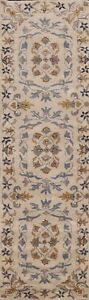 """Floral Traditional Ivory Hand-Tufted Oriental Runner Rug Wool Carpet 2' 7""""x9'10"""""""