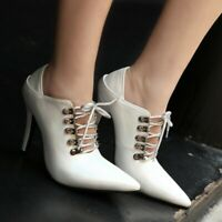 Womens High Heel Stiletto Pointed toe Lace up Party Punk Shoes Pumps Plus Size