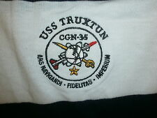 USS TRUXTUN CGN-35 SHIRT Rugby Polo US Navy Ship Embroidered Crest Logo vtg 90s