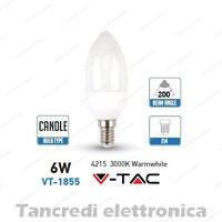 Lampadina led V-TAC 6W = 40W E14 bianco caldo 3000K VT-1855 a candela SMD VTAC