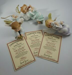 3 Heirloom Ornaments Ashton Drake Angels Gifts from Above Love Hope Wonder