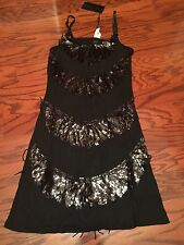 NWT CRISTINA LOVE Black Sequined with Fringe on Bodice Dress Size M MSRP $60