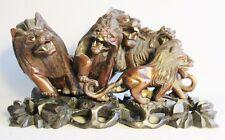 "Large 22"" MEIJI-ERA JAPANESE Wood Carving of Foo Dogs c. 1890  antique sculpture"